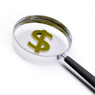 Money magnifying glass photo