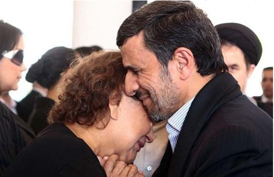 Presidential Fails- Ahmadinejad kissing Chavez mom photo